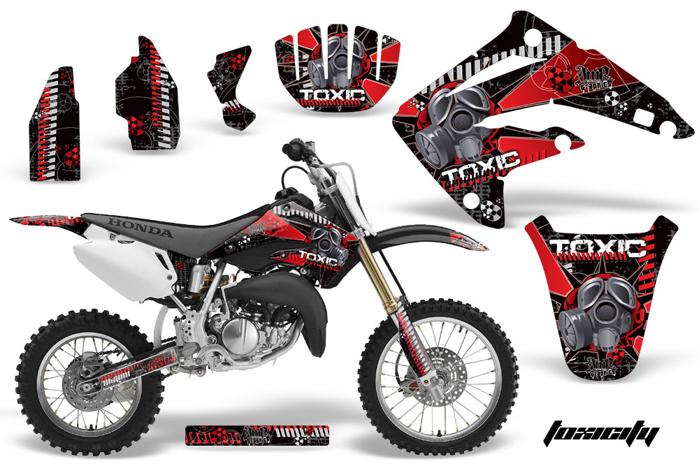 Dirt Bike Graphics Kit MX Decal Wrap For Honda CR85 CR 85 2003-2007 TOXIC RED BLACK-atv motorcycle utv parts accessories gear helmets jackets gloves pantsAll Terrain Depot