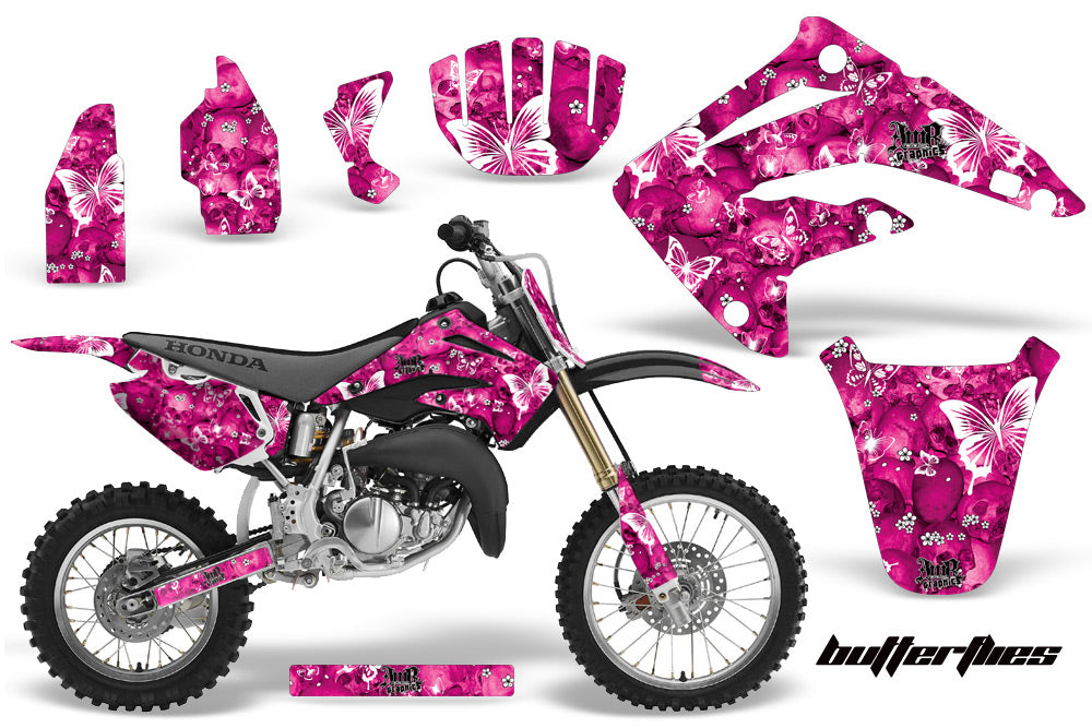 Graphics Kit MX Decal Wrap + # Plates For Honda CR85 CR 85 2003-2007 BUTTERFLIES WHITE PINK