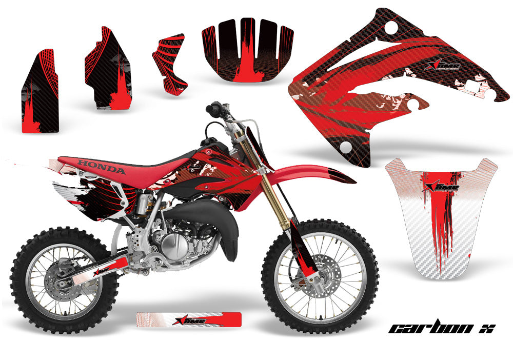 Graphics Kit MX Decal Wrap + # Plates For Honda CR85 CR 85 2003-2007 CARBONX RED