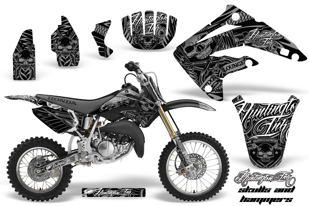 Graphics Kit MX Decal Wrap + # Plates For Honda CR85 CR 85 2003-2007 HISH SILVER