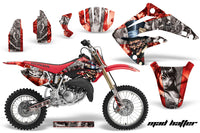 Graphics Kit MX Decal Wrap + # Plates For Honda CR85 CR 85 2003-2007 HATTER SILVER RED
