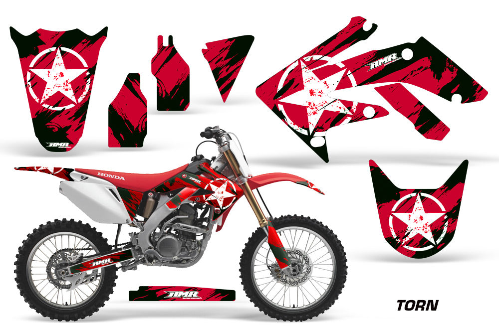 Dirt Bike Graphics Kit Decal Sticker Wrap For Honda CRF250R 2004-2009 TORN RED-atv motorcycle utv parts accessories gear helmets jackets gloves pantsAll Terrain Depot
