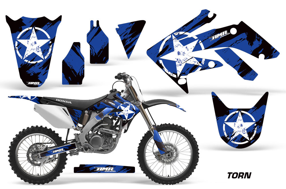 Dirt Bike Graphics Kit Decal Sticker Wrap For Honda CRF250R 2004-2009 TORN BLUE-atv motorcycle utv parts accessories gear helmets jackets gloves pantsAll Terrain Depot