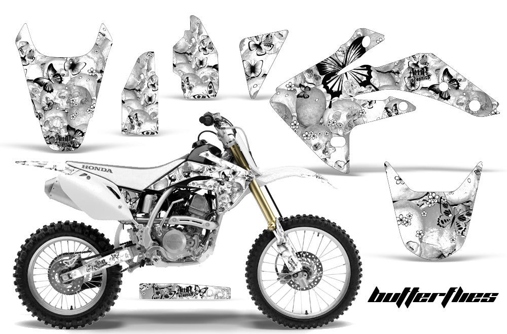 Dirt Bike Graphics Kit Decal Sticker Wrap For Honda CRF150R 2007-2016 BUTTERFLIES BLACK WHITE-atv motorcycle utv parts accessories gear helmets jackets gloves pantsAll Terrain Depot