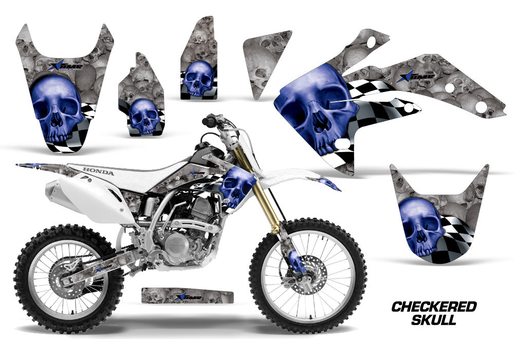 Dirt Bike Graphics Kit Decal Sticker Wrap For Honda CRF150R 2007-2016 CHECKERED BLUE SILVER-atv motorcycle utv parts accessories gear helmets jackets gloves pantsAll Terrain Depot
