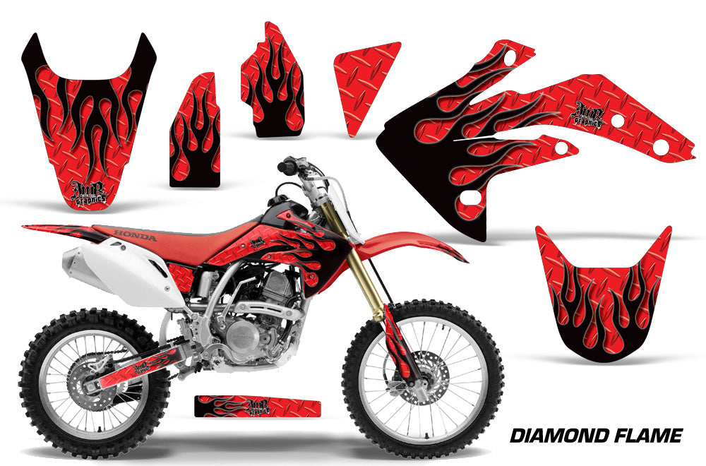 Dirt Bike Graphics Kit Decal Sticker Wrap For Honda CRF150R 2007-2016 DIAMOND FLAMES BLACK RED-atv motorcycle utv parts accessories gear helmets jackets gloves pantsAll Terrain Depot