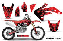 Load image into Gallery viewer, Dirt Bike Graphics Kit Decal Sticker Wrap For Honda CRF150R 2007-2016 DIAMOND FLAMES BLACK RED-atv motorcycle utv parts accessories gear helmets jackets gloves pantsAll Terrain Depot