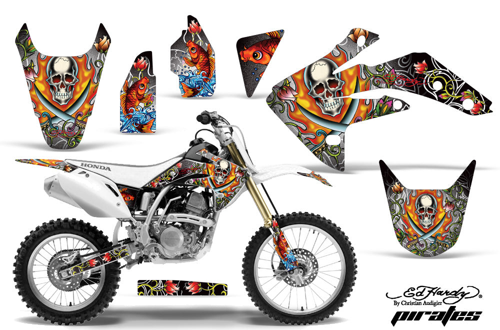 Dirt Bike Graphics Kit Decal Sticker Wrap For Honda CRF150R 2007-2016 EDHP WHITE-atv motorcycle utv parts accessories gear helmets jackets gloves pantsAll Terrain Depot