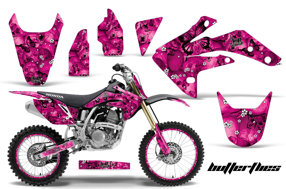 Graphics Kit Decal Sticker Wrap + # Plates For Honda CRF150R 2007-2016 BUTTERFLIES BLACK PINK-atv motorcycle utv parts accessories gear helmets jackets gloves pantsAll Terrain Depot
