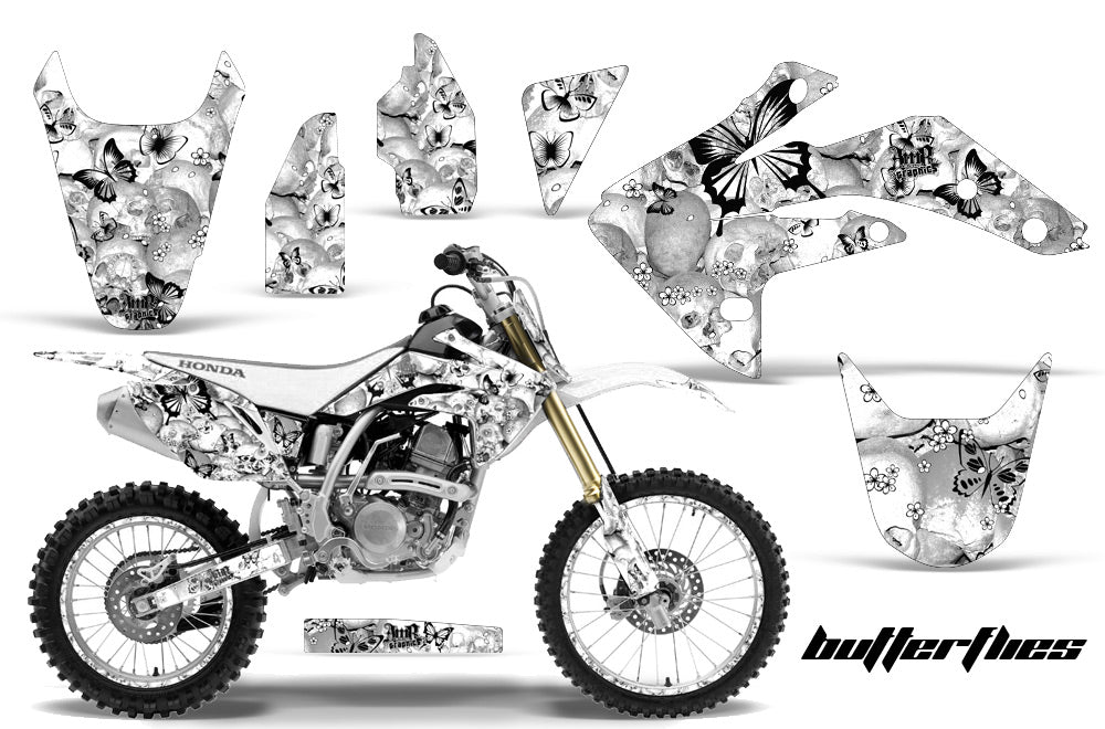 Graphics Kit Decal Sticker Wrap + # Plates For Honda CRF150R 2007-2016 BUTTERFLIES BLACK WHITE-atv motorcycle utv parts accessories gear helmets jackets gloves pantsAll Terrain Depot