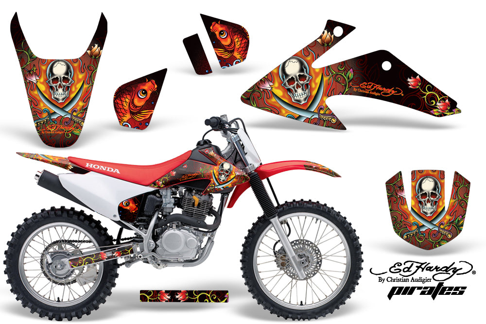 Dirt Bike Graphics Kit Decal Wrap For Honda CRF150 CRF230F 2008-2014 EDHP RED-atv motorcycle utv parts accessories gear helmets jackets gloves pantsAll Terrain Depot