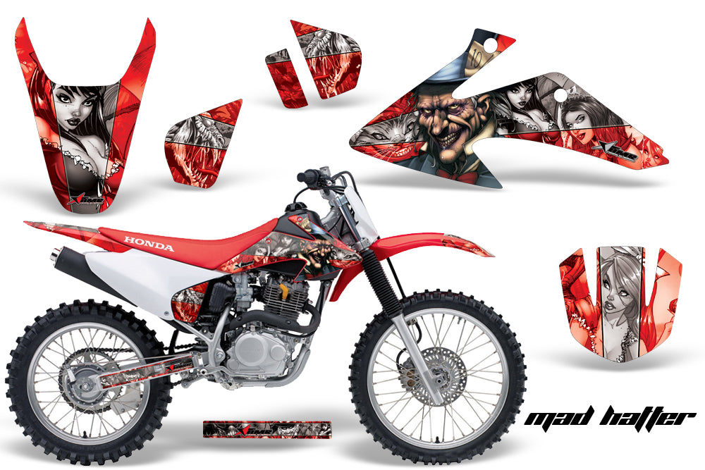 Dirt Bike Graphics Kit Decal Wrap For Honda CRF150 CRF230F 2008-2014 HATTER SILVER RED-atv motorcycle utv parts accessories gear helmets jackets gloves pantsAll Terrain Depot