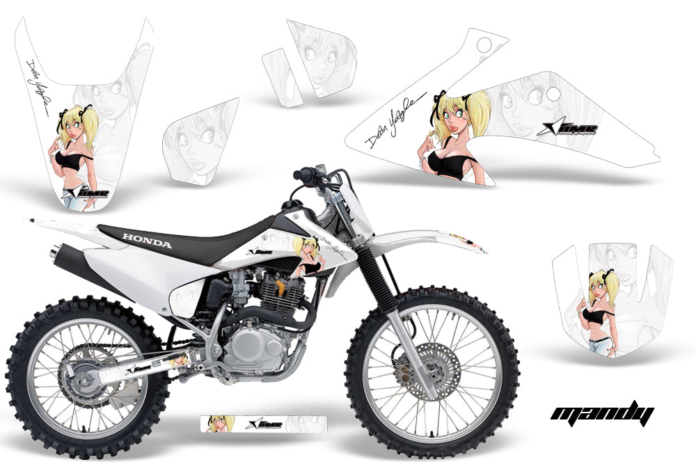 Dirt Bike Graphics Kit Decal Wrap For Honda CRF150 CRF230F 2008-2014 MANDY WHITE-atv motorcycle utv parts accessories gear helmets jackets gloves pantsAll Terrain Depot