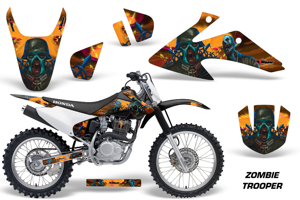 Dirt Bike Graphics Kit Decal Wrap For Honda CRF150 CRF230F 2008-2014 ZOMBIE ORANGE-atv motorcycle utv parts accessories gear helmets jackets gloves pantsAll Terrain Depot