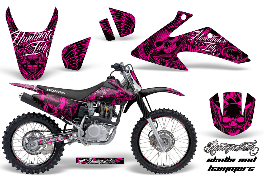 Graphics Kit Decal Wrap + # Plates For Honda CRF150 CRF230F 2008-2014 HISH PINK-atv motorcycle utv parts accessories gear helmets jackets gloves pantsAll Terrain Depot
