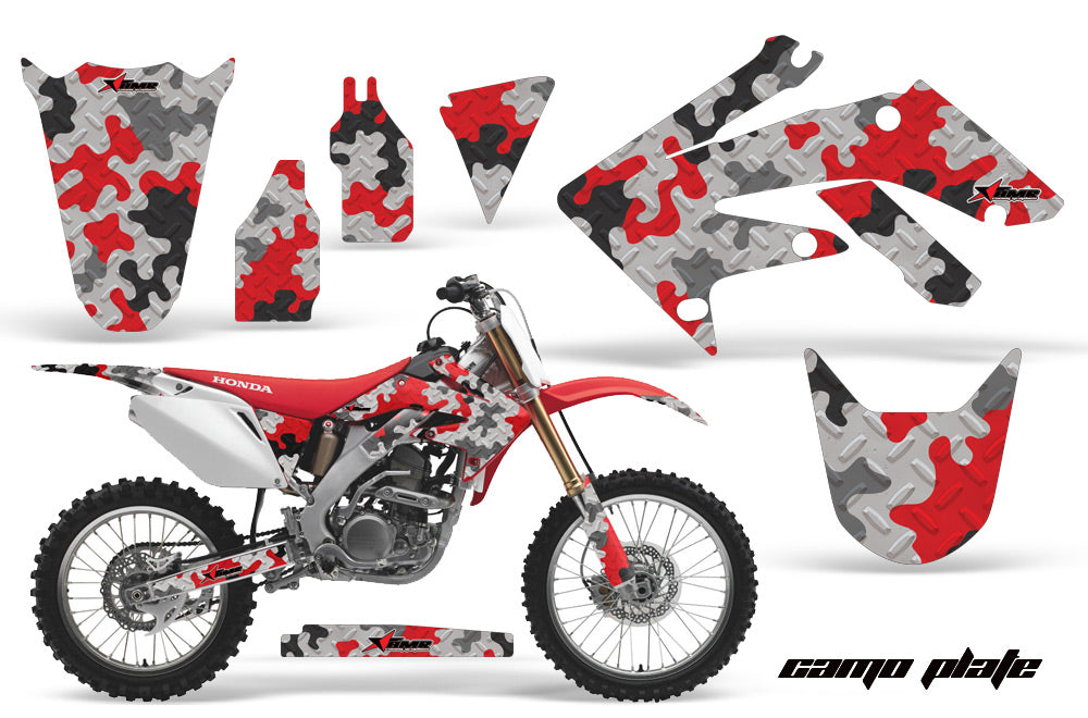 Dirt Bike Graphics Kit Decal Sticker Wrap For Honda CRF250R 2004-2009 CAMOPLATE RED-atv motorcycle utv parts accessories gear helmets jackets gloves pantsAll Terrain Depot