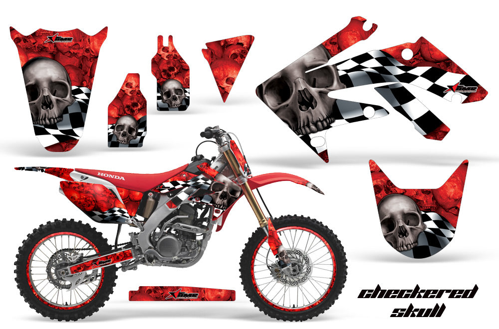 Dirt Bike Graphics Kit Decal Sticker Wrap For Honda CRF250R 2004-2009 CHECKERED SILVER RED-atv motorcycle utv parts accessories gear helmets jackets gloves pantsAll Terrain Depot