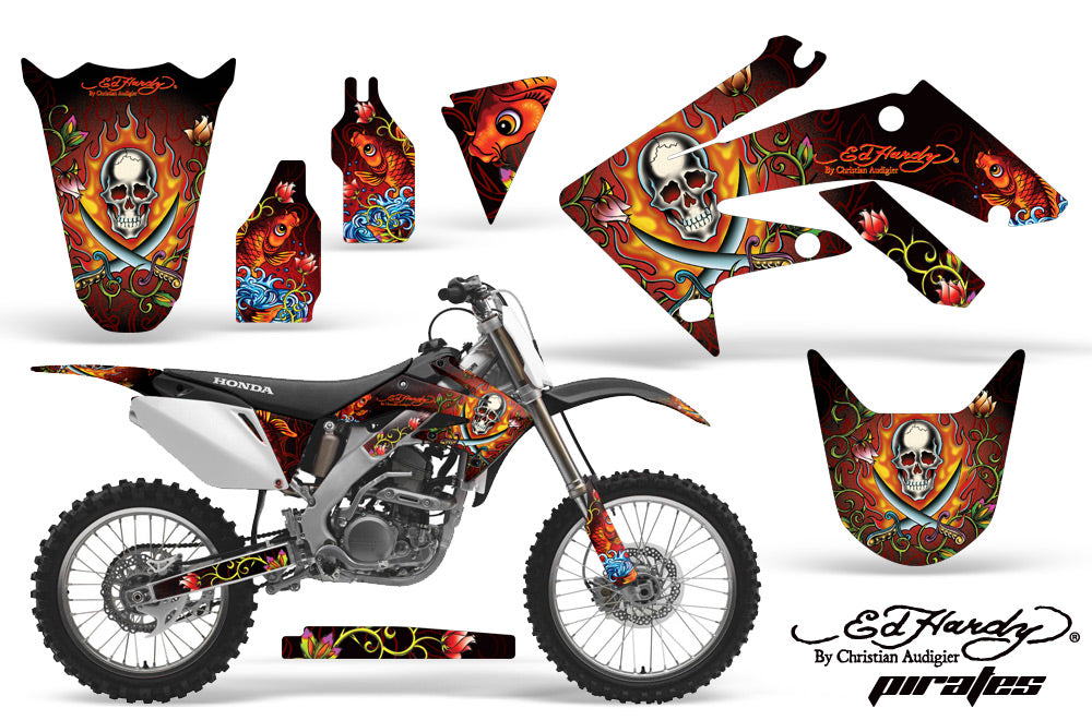 Dirt Bike Graphics Kit Decal Sticker Wrap For Honda CRF250R 2004-2009 EDHP RED-atv motorcycle utv parts accessories gear helmets jackets gloves pantsAll Terrain Depot