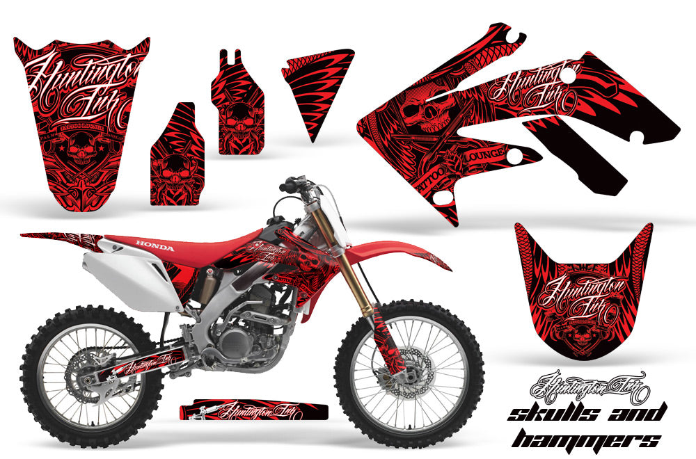 Dirt Bike Graphics Kit Decal Sticker Wrap For Honda CRF250R 2004-2009 HISH RED-atv motorcycle utv parts accessories gear helmets jackets gloves pantsAll Terrain Depot