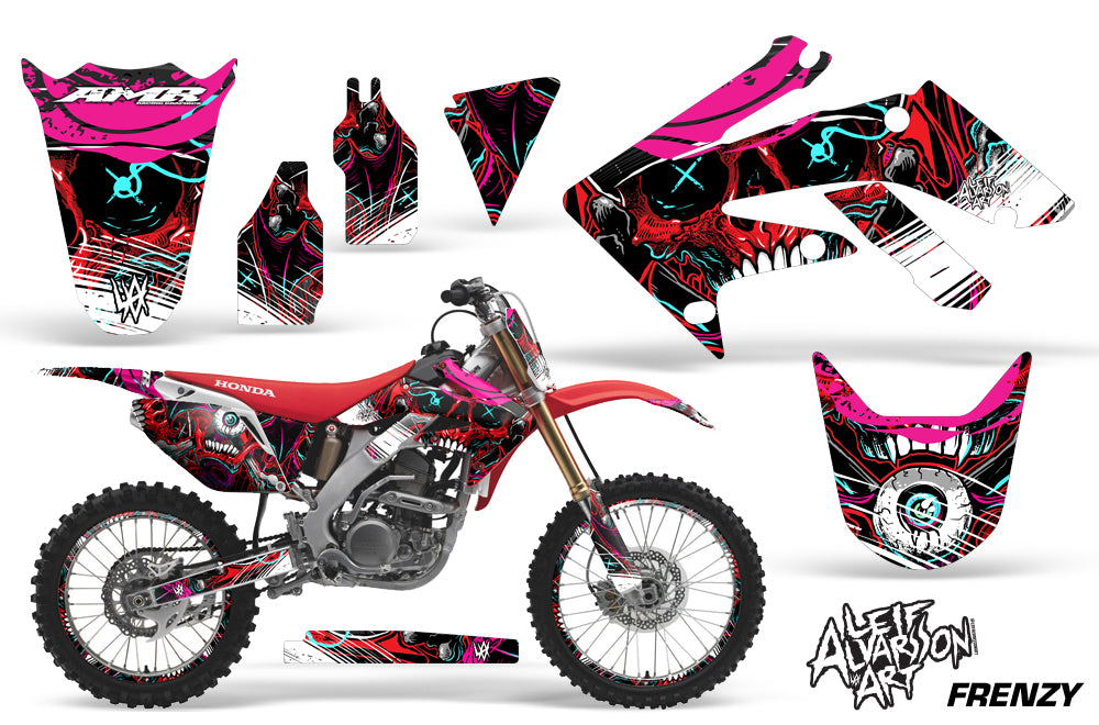 Graphics Kit Decal Sticker Wrap + # Plates For Honda CRF250R 2004-2009 FRENZY RED-atv motorcycle utv parts accessories gear helmets jackets gloves pantsAll Terrain Depot