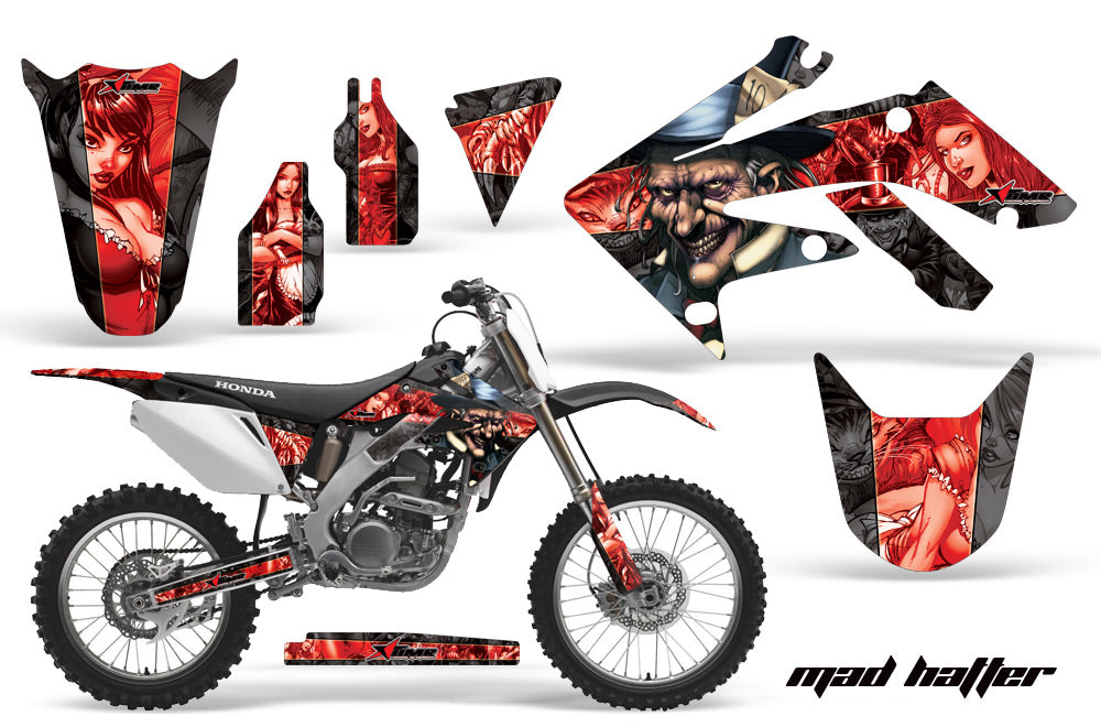 Dirt Bike Graphics Kit Decal Sticker Wrap For Honda CRF250R 2004-2009 HATTER RED BLACK-atv motorcycle utv parts accessories gear helmets jackets gloves pantsAll Terrain Depot