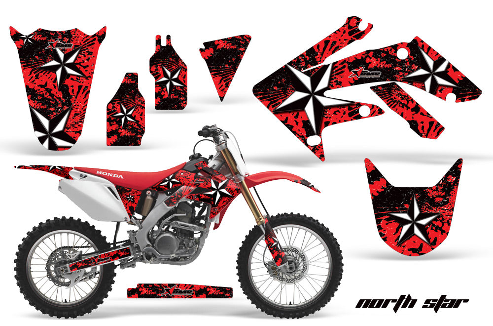 Dirt Bike Graphics Kit Decal Sticker Wrap For Honda CRF250R 2004-2009 NORTHSTAR RED-atv motorcycle utv parts accessories gear helmets jackets gloves pantsAll Terrain Depot