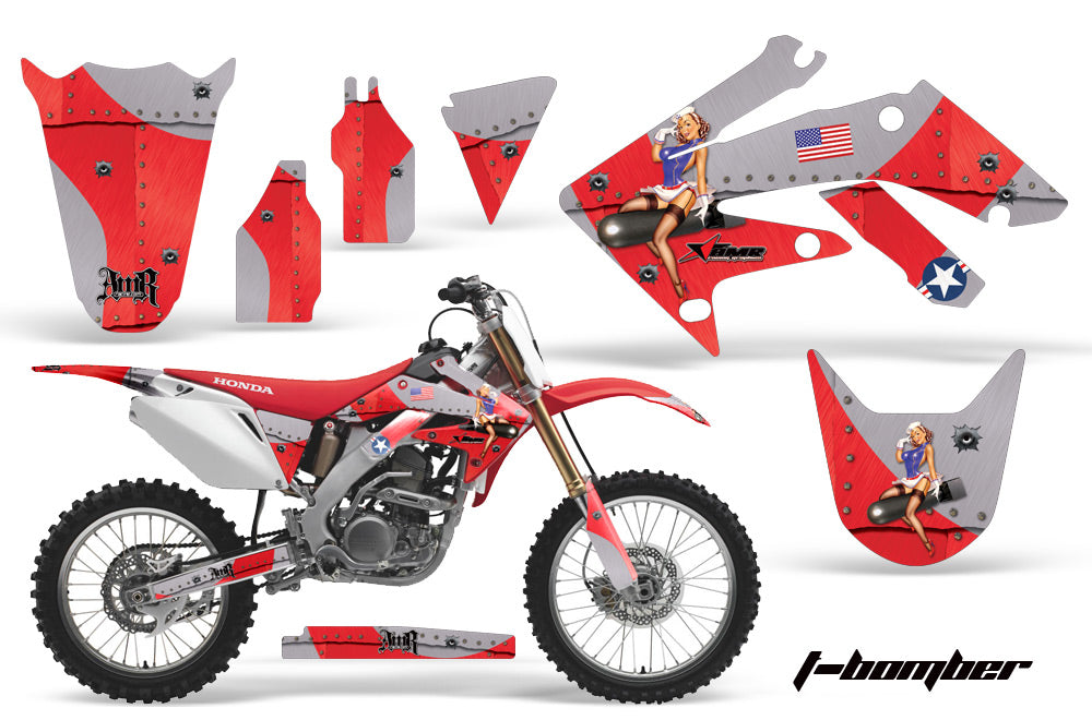 Dirt Bike Graphics Kit Decal Sticker Wrap For Honda CRF250R 2004-2009 TBOMBER RED-atv motorcycle utv parts accessories gear helmets jackets gloves pantsAll Terrain Depot