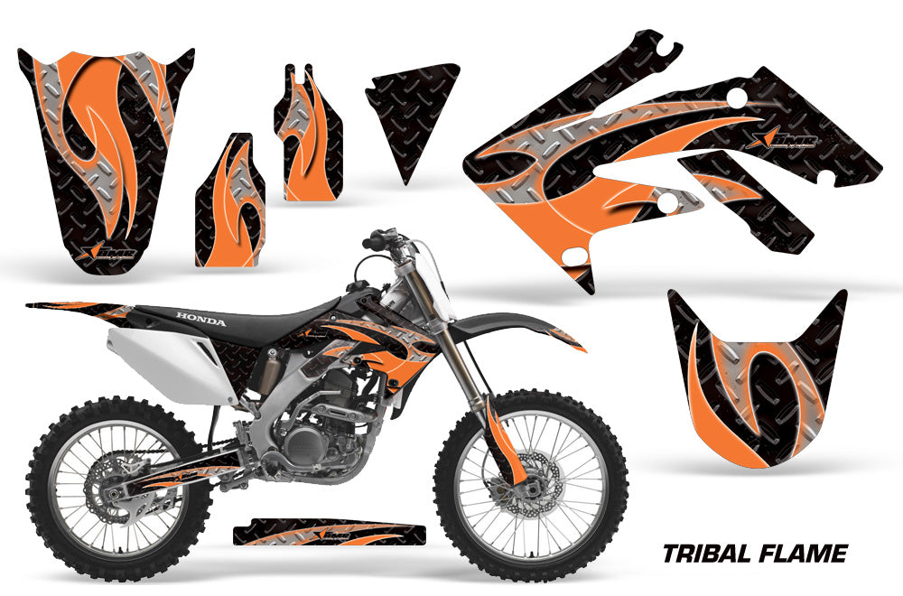 Dirt Bike Graphics Kit Decal Sticker Wrap For Honda CRF250R 2004-2009 TRIBAL ORANGE BLACK-atv motorcycle utv parts accessories gear helmets jackets gloves pantsAll Terrain Depot