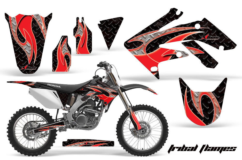 Dirt Bike Graphics Kit Decal Sticker Wrap For Honda CRF250R 2004-2009 TRIBAL RED BLACK-atv motorcycle utv parts accessories gear helmets jackets gloves pantsAll Terrain Depot