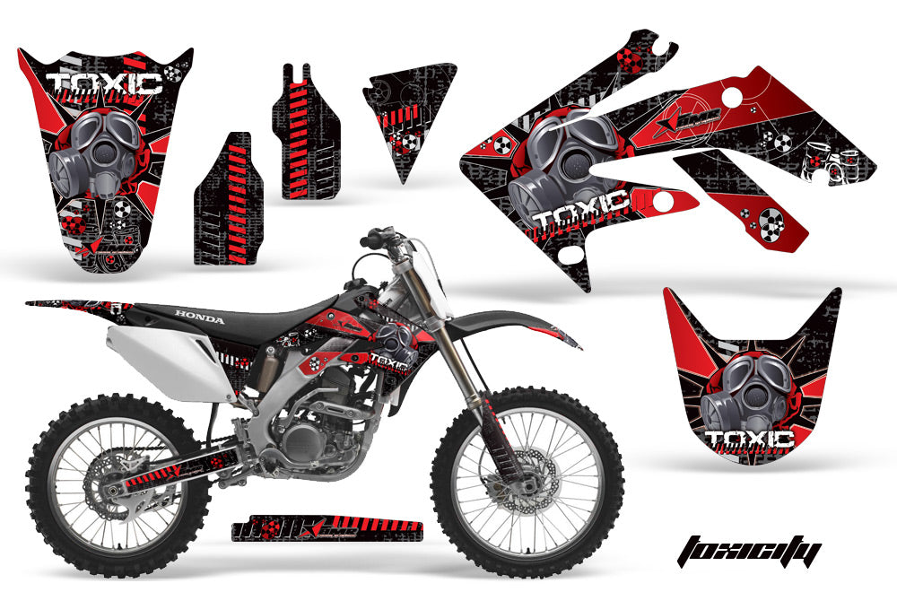 Dirt Bike Graphics Kit Decal Sticker Wrap For Honda CRF250R 2004-2009 TOXIC RED BLACK-atv motorcycle utv parts accessories gear helmets jackets gloves pantsAll Terrain Depot