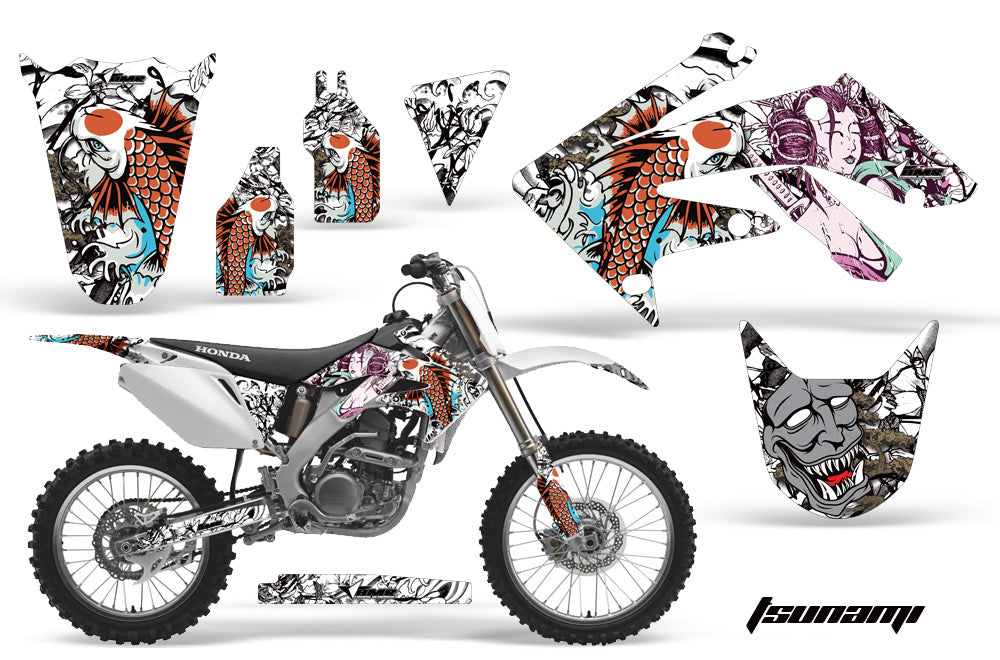 Dirt Bike Graphics Kit Decal Sticker Wrap For Honda CRF250R 2004-2009 TSUNAMI WHITE-atv motorcycle utv parts accessories gear helmets jackets gloves pantsAll Terrain Depot