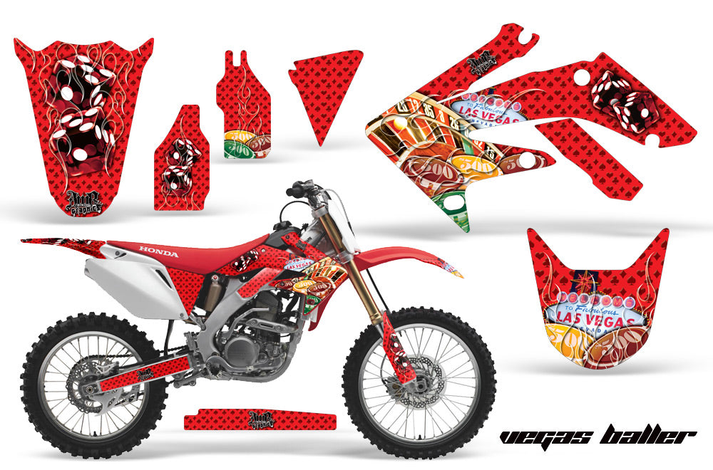 Dirt Bike Graphics Kit Decal Sticker Wrap For Honda CRF250R 2004-2009 VEGAS RED-atv motorcycle utv parts accessories gear helmets jackets gloves pantsAll Terrain Depot