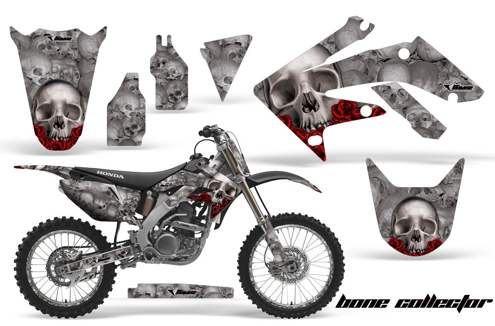 Graphics Kit Decal Sticker Wrap + # Plates For Honda CRF250R 2004-2009 BONES SILVER-atv motorcycle utv parts accessories gear helmets jackets gloves pantsAll Terrain Depot