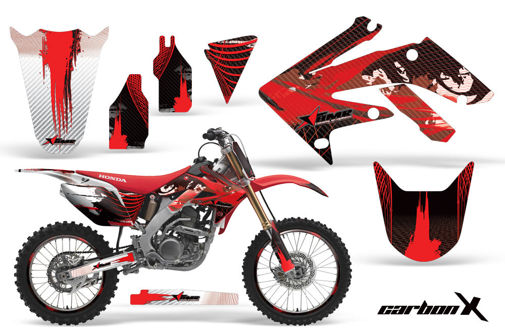 Graphics Kit Decal Sticker Wrap + # Plates For Honda CRF250R 2004-2009 CARBONX RED-atv motorcycle utv parts accessories gear helmets jackets gloves pantsAll Terrain Depot
