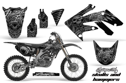 Graphics Kit Decal Sticker Wrap + # Plates For Honda CRF250R 2004-2009 HISH SILVER