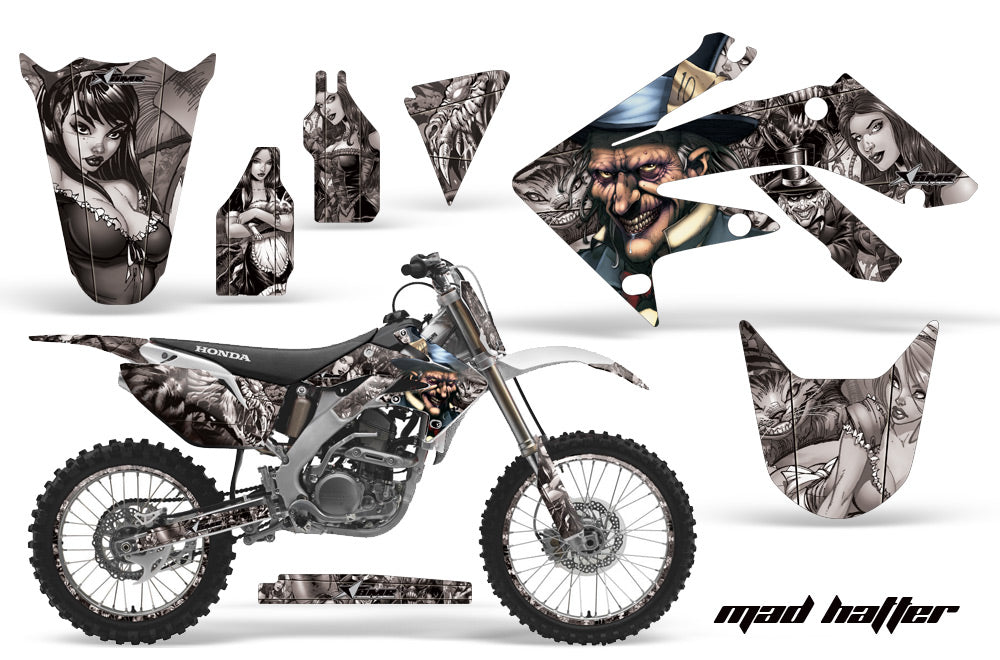 Graphics Kit Decal Sticker Wrap + # Plates For Honda CRF250R 2004-2009 HATTER SILVER-atv motorcycle utv parts accessories gear helmets jackets gloves pantsAll Terrain Depot