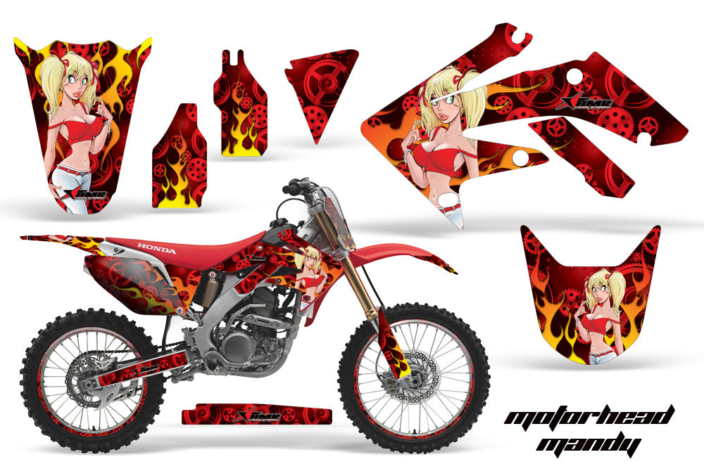 Graphics Kit Decal Sticker Wrap + # Plates For Honda CRF250R 2004-2009 MOTO MANDY RED-atv motorcycle utv parts accessories gear helmets jackets gloves pantsAll Terrain Depot