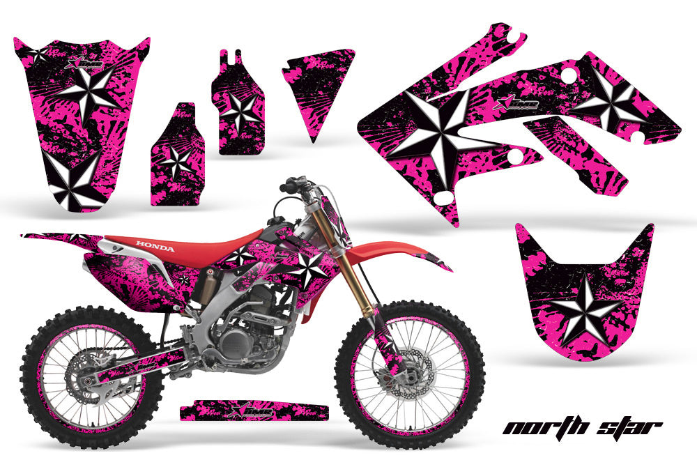 Graphics Kit Decal Sticker Wrap + # Plates For Honda CRF250R 2004-2009 NORTHSTAR PINK-atv motorcycle utv parts accessories gear helmets jackets gloves pantsAll Terrain Depot