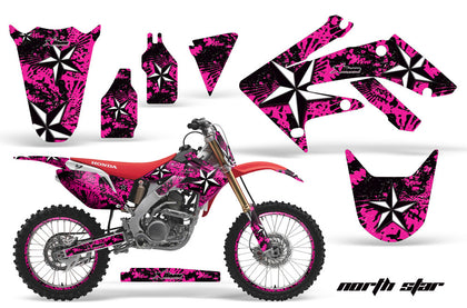 Graphics Kit Decal Sticker Wrap + # Plates For Honda CRF250R 2004-2009 NORTHSTAR PINK