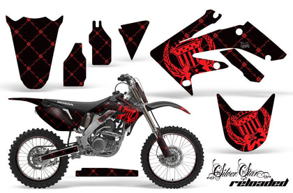 Graphics Kit Decal Sticker Wrap + # Plates For Honda CRF250R 2004-2009 RELOADED RED BLACK