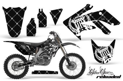 Graphics Kit Decal Sticker Wrap + # Plates For Honda CRF250R 2004-2009 RELOADED WHITE BLACK