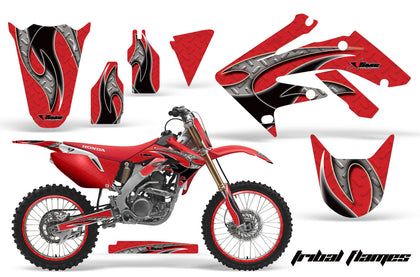 Graphics Kit Decal Sticker Wrap + # Plates For Honda CRF250R 2004-2009 TRIBAL BLACK RED