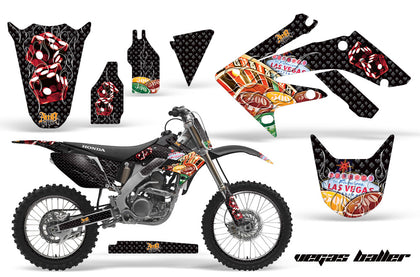 Graphics Kit Decal Sticker Wrap + # Plates For Honda CRF250R 2004-2009 VEGAS BLACK