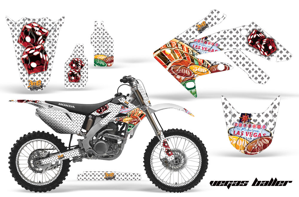 Graphics Kit Decal Sticker Wrap + # Plates For Honda CRF250R 2004-2009 VEGAS WHITE-atv motorcycle utv parts accessories gear helmets jackets gloves pantsAll Terrain Depot