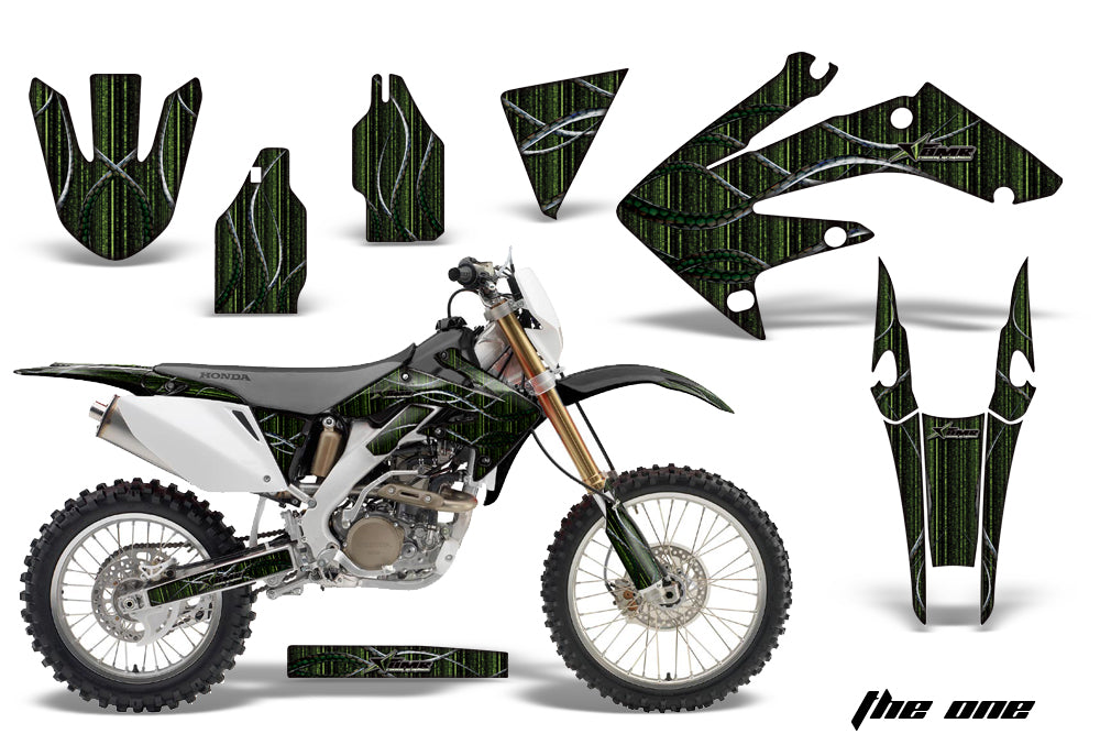 Dirt Bike Decal Graphics Kit MX Sticker Wrap For Honda CRF250X 2004-2017 THE ONE GREEN-atv motorcycle utv parts accessories gear helmets jackets gloves pantsAll Terrain Depot