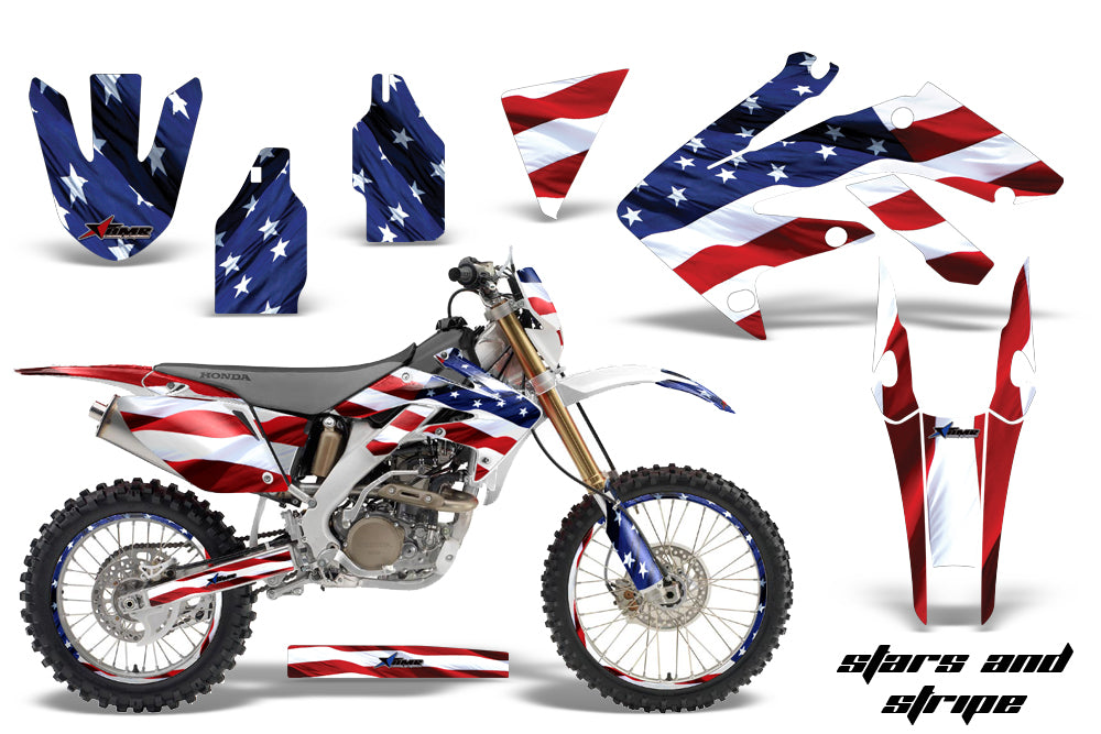 Graphics Kit Decal Sticker Wrap + # Plates For Honda CRF250X 2004-2017 USA FLAG-atv motorcycle utv parts accessories gear helmets jackets gloves pantsAll Terrain Depot