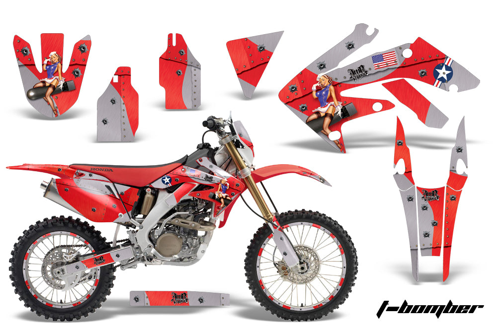 Graphics Kit Decal Sticker Wrap + # Plates For Honda CRF250X 2004-2017 TBOMBER RED-atv motorcycle utv parts accessories gear helmets jackets gloves pantsAll Terrain Depot