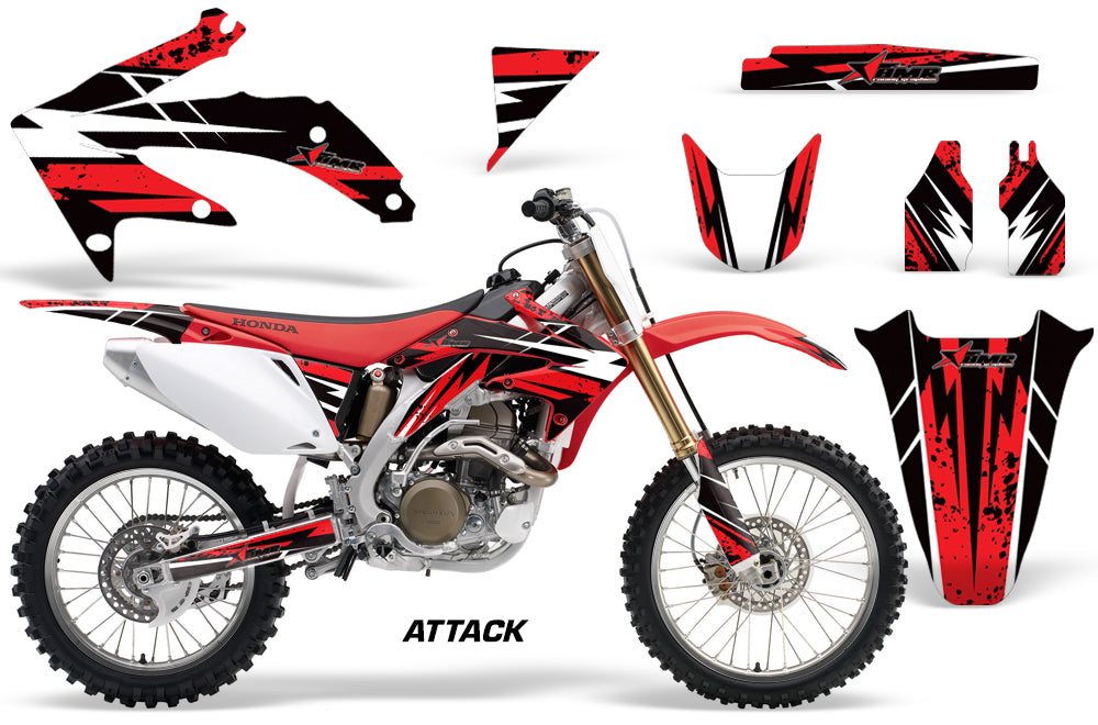 Dirt Bike Graphics Kit Decal Sticker Wrap For Honda CRF450R 2005-2008 ATTACK RED-atv motorcycle utv parts accessories gear helmets jackets gloves pantsAll Terrain Depot