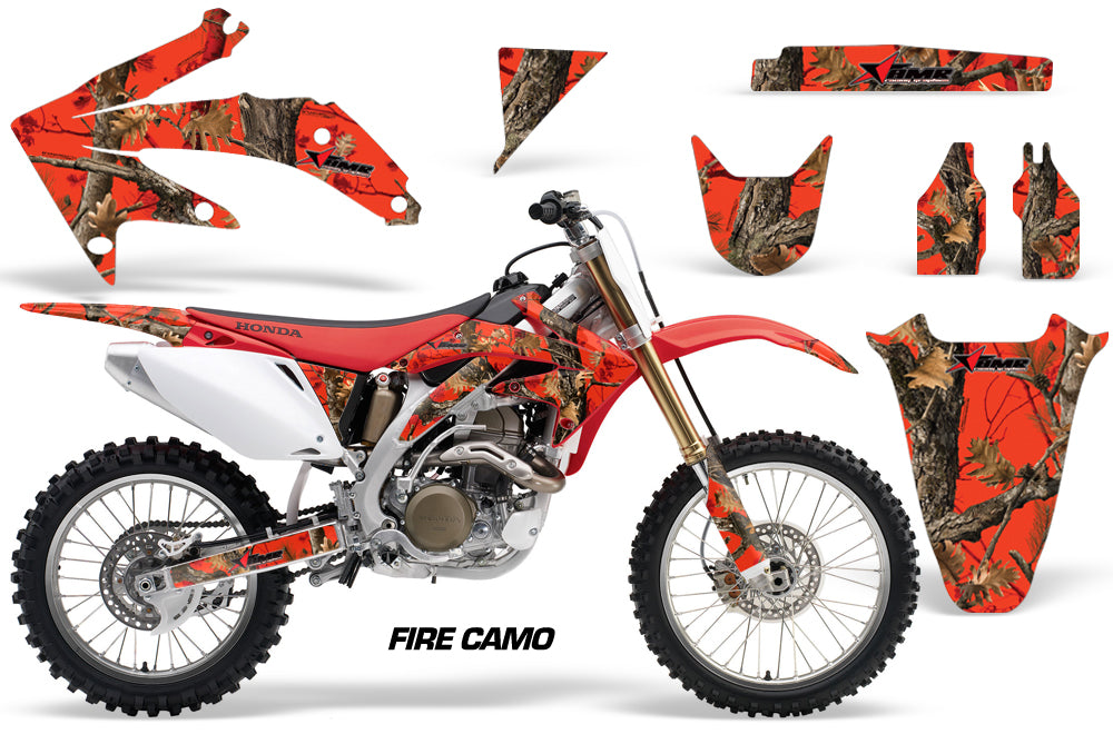 Dirt Bike Graphics Kit Decal Sticker Wrap For Honda CRF450R 2005-2008 FIRE CAMO-atv motorcycle utv parts accessories gear helmets jackets gloves pantsAll Terrain Depot