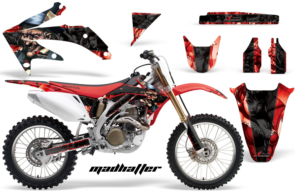 Dirt Bike Graphics Kit Decal Sticker Wrap For Honda CRF450R 2005-2008 HATTER BLACK RED-atv motorcycle utv parts accessories gear helmets jackets gloves pantsAll Terrain Depot